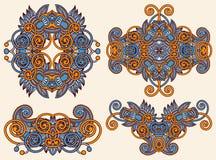 Cztery ornamentacyjny kwiecisty przybranie royalty ilustracja