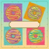 Cztery pączek z ramą dla teksta na barwionym tle Obraz Royalty Free