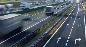 Cztery pasów ruchu dostępu autostrada w Polska Fotografia Royalty Free