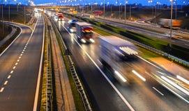 Cztery pasów ruchu dostępu autostrada w Polska Obraz Royalty Free