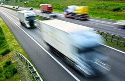 Cztery pasów ruchu dostępu autostrada w Polska Zdjęcie Stock