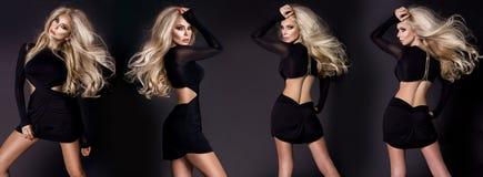 Cztery Pięknej oszałamiająco blondynki kobiety jest ubranym czarnego krótkiego eleganckiego wieczór balową togę ubierają fotografia royalty free