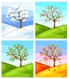 cztery pory roku Ilustracja drzewo i krajobraz w zimie, wiosna, lato, jesień ilustracja wektor
