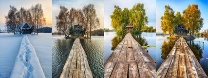 cztery pory roku malowniczy mały dom na małej wyspie Obraz Royalty Free