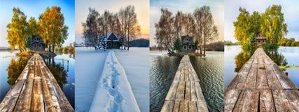 cztery pory roku malowniczy mały dom na małej wyspie Zdjęcia Stock