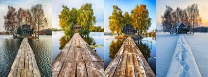 cztery pory roku malowniczy mały dom na małej wyspie Obraz Stock