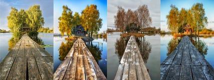 cztery pory roku malowniczy mały dom na małej wyspie Zdjęcia Royalty Free