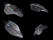 cztery potężnych statek kosmiczny streamline prawdziwych widok ilustracja wektor