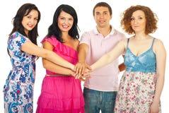 cztery przyjaciela grupują zlanego obrazy royalty free