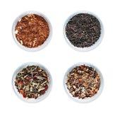 Cztery pucharu z różnymi typ herbata na białym tle odizolowywającym fotografia stock