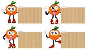 Cztery pustego kartonu z świeżymi pomarańczami royalty ilustracja