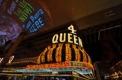 Cztery queens, Fremont ulica, punkt zwrotny, noc, światło, metropolia Zdjęcie Royalty Free