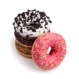 Cztery różnego donuts na białego tła odgórnym widoku obraz stock