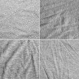 Cztery różna tekstura szara tkanina z delikatnym pasiastym wzorem Zdjęcia Royalty Free