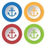Cztery round kolor ikony, kotwica royalty ilustracja