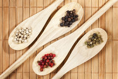 Cztery rozmaitości pieprzowe kukurudze na kulinarnych łyżkach Obrazy Stock