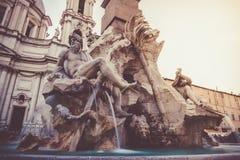 Cztery rzek fontanna w Rzym Zdjęcie Stock