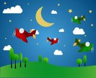 Cztery samolotu przy nocą Obraz Royalty Free