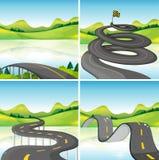 Cztery sceny drogi w polu ilustracja wektor