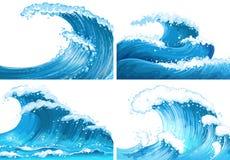 Cztery sceny ocean fala ilustracja wektor