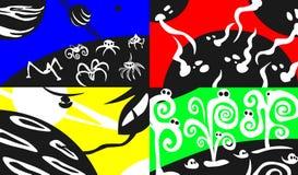 Cztery scifi tła Obrazy Royalty Free