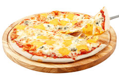 Cztery Serowa pizza, mozzarella serowy Dorblu, cheddaru ser, parmesan ser Obrazy Royalty Free