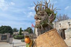 Cztery sezonów ` jest rzeźby seriami cztery gigantycznej głowy, each reprezentować sezon rok Artysta Philip Haas Zdjęcia Royalty Free
