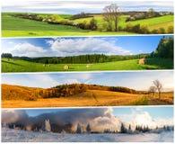 Cztery sezonów kolaż od horyzontalnych sztandarów Fotografia Stock