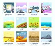 Cztery sezonów miesiąca natury krajobrazu zima, lato, jesień, wiosny wektorowa płaska sceneria ilustracji