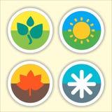 Cztery sezonów mieszkania ikony cienki set ilustracji