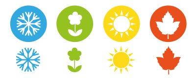 Cztery sezonów zimy wiosny lata spadku ikony set ilustracja wektor