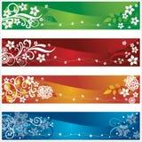 Cztery sezonowego sztandaru z kwiatami i płatkami śniegu   Fotografia Stock