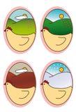 Cztery sezonu w owalnym kształcie Zdjęcia Royalty Free