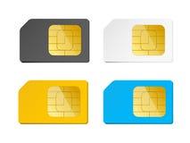 Cztery sim karty czernią, biel, błękit, kolor żółty Fotografia Royalty Free