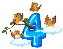 Cztery sowa na liczbie cztery ilustracja wektor