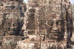 Cztery strony drylują twarze Bayon świątynia w Angkor obraz stock