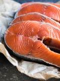 Cztery surowego łososiowego stku obrazy stock