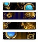 Cztery sztandaru z przekładniami Fotografia Stock