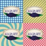 Cztery typ retro textured etykietki dla oberżyny eps10 Obrazy Stock
