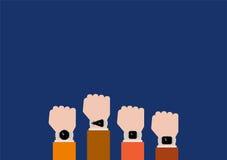 Cztery typ smartwatch na rękach Zdjęcia Royalty Free