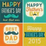 Cztery typograficznej ojca dnia karty Zdjęcie Stock