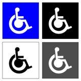 Cztery wózka inwalidzkiego kwadrata Obrazy Royalty Free