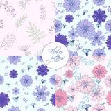 Cztery w jeden kwiatu elementów ślicznych wzorach ilustracji