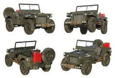 Cztery widoku wysoce szczegółowy pojazd wojskowy od WWII ilustracja wektor