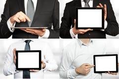 Cztery wizerunku - biznesmen trzyma pastylka peceta fotografia stock