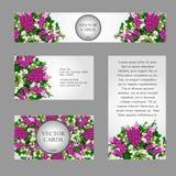 Cztery wizytówki z bielu i menchii kwiatami ilustracja wektor