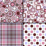 cztery wzorów bezszwowy set Zdjęcia Royalty Free