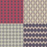 cztery wzorów bezszwowy set Kazach, azjata, kwiecisty, kwiecisty klepnięcie, ilustracji