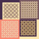 cztery wzorów bezszwowy set Rocznik geometryczny royalty ilustracja