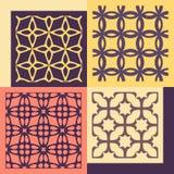 cztery wzorów bezszwowy set Rocznik geometryczny ilustracja wektor